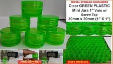 """72X Small Vials Clear Storage Container Mini Plastic Jar Bottle 1"""" Tiny Green"""