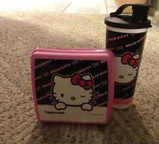 Tupperware Hello Kitty Sassy Lunch Set 16oz Tumbler & SandwTupperwich Keeper New