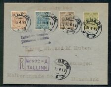 Estonia 1919 Complete First Issue (1-4) tied on reg cover to Denmark via Finland