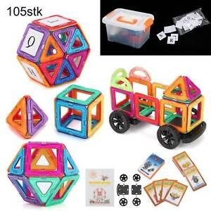 105tlg Magnetische Bausteine Magnet Spielzeug für Kinder Lernspielzeug Spiel DHL