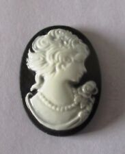 10 Black Lady Oval Cameo Embellishment Resin Cabochon 24x18mm Flat Back Decoden