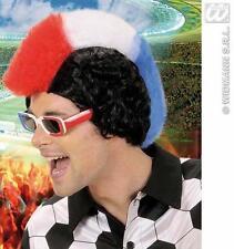 French Mohawk Wig Red White Blue Mohican Football Fan France Fancy Dress