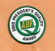 """ABF TRUCKING 2002 PRESIDENTS QUALITY AWARD  PATCH  3"""""""