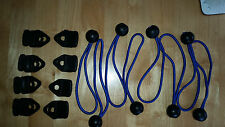 Tent, Awning Tarpaulin Repair 8x Non-piercing Eyelet Clips and ball bungees