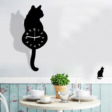 Creative 3D Cute Cat Wag Tail Pointer Home Decal Sticker Wall Clock Xmas Gifts