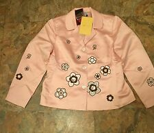 Blaine Trump Floral Embroidered Satin Lined Jacket Sz Large NWT