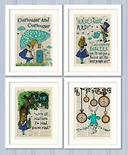 Set of 4 Alice in Wonderland Antique Book page Art Prints A4-Nursery Set 2 Turq