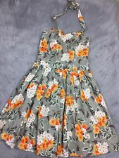Handmade Womens Green Orange Floral Daisy Pleated Pinup Style Halter Dress