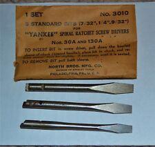 VTG Yankee Screw Bits 3 Pack NOS No 3010 30A 130A 7/32 ¼ 9/32 3011 3012 3013