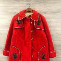 Vintage Hudsons Bay Co HBC Pure Virgin Wool Parka Coat Jacket Red Womens Size 16