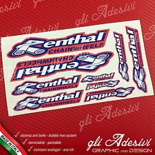 Set 9 Adesivi Sponsor Tecnici RENTHAL Chian Auto Moto Cross Red & Blu