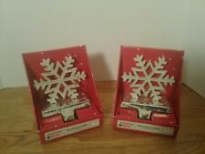 2 Christmas Holiday Stocking Hanger Rustic Metal Holder Snowflake Crackled Ivory
