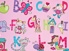 2 Sheets Gift Wrapping Paper ALPHABET ABC Birthday Girl Ladies Pink Cute