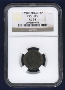 ENGLAND GEORGE II 1758 SIXPENCE COIN, ALMOST UNCIRCULATED, CERTIFIED NGC AU-53