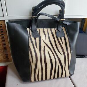 Next Leather Large Tote Shoulder Bag Zebra Pattern Shopper Handbag