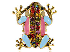 Colorful Hand Painted Enamel Crystal Rhinestone Lucky Frog Ring Unique Jewelry