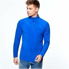 Mens Half Zip Up Winter Warm Lightweight Micro Fleece Jacket Top in Black & Navy