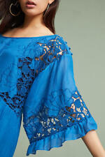 NEW Anthropologie Meadow Flutter Sleeve Embroidered Maxi Dress BLUE Boho Chic XS
