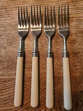 "4 x Stanley Roberts SPECTRUM Ivory Plastic Stainless Dinner Forks 7 3/4"" #1001"