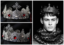 Men's Pageant Imperial Medieval Cross Silver Crown, Silver Red King Crown, Tiara