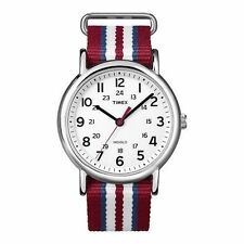 "Timex T2N746, Men's ""Weekender"" Red Strap Fabric Watch, Indiglo, T2N7469J"