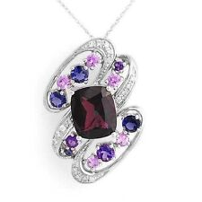 White Gold Brooch / Necklace 8.05ctw Diamond, Sapphire, Garnet, Amethyst+ 14k
