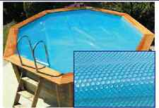 6m ext. (5.6m int.) Octagonal Wooden Pool Solar Bubble Cover 200 micron Blue