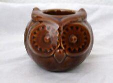 Fall Decor Brown Burnt Sienna TAG Oakley Owl Tea Light Candle Holder Ceramic