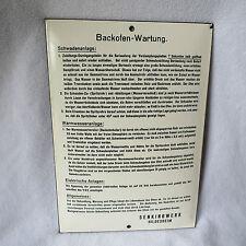 Backofen-Wartung altes Emailschild 21x30cm Emaille Schild Senkingwerk Hildesheim