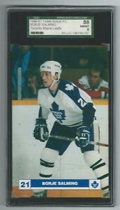 1986-87 Toronto Maple Leafs Team Issue Borje Salming Graded Postcard SGC 8 pop 1