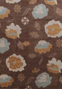 Dark Brown Contemporary Floral Oriental Area Rug Modern Hand-Tufted Wool 10'x13'