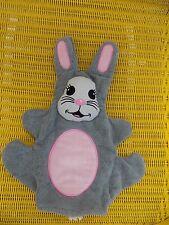 Grey Bunny Rabbit Baby Puppet Washcloth Adorable