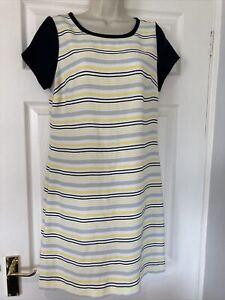 Next Stripy White Navy Grey Yellow Shift Dress Size 12