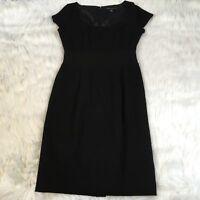 Banana Republic Women's Sheath Dress Size 0 100% Wool Black Career Cocktail