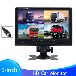 """9"""" Quad Split Car Monitor Screen For Rear View Backup Camera System Bus Truck RV"""