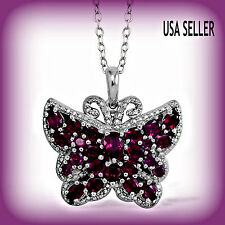 TGW 5.51 Cts. Lovely Raspberry Rhodolite Garnet Diamond Butterfly Pendant