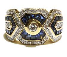 LeVian 18k yellow gold .28ct VS1 H diamond sapphire womens ring 9.6g estate