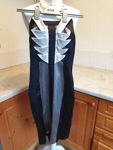 Karen Millen Black Cream Grey Origami Style Strapless Cocktail Dress Size 6