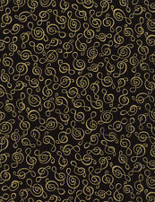 Music -Treble Clef-Gold Metallic-Black Background-Cotton Quilting Fabric1/2 YARD