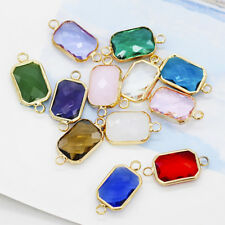 12p10x14mm octagon Framed Glass Pendants Necklace Connector jewelry making beads