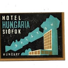 "Hotel Hungaria Balaton Hungary 1940's/50's Luggage 3""x4"" Label/Sticker USED Rare"