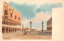 PLAZA MARCO VENICE ITALY ARTIST SIGNED POSTCARD (c. 1900)