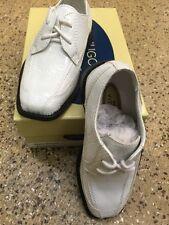 Hugo Vitelli Infant Boys' White Dress Shoes K849WHT Size 7.5 Laces See Photos