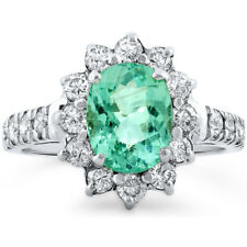 Certified 2.00cttw Paraiba Tourmaline 0.80cts Diamond 14KT White Gold Ring