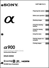 Sony DSLR Alpha A900  Digital Camera User Guide Instruction  Manual
