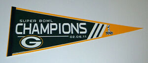 2011 Green Bay Packers Super Bowl XLV Champs pennant Aaron Rodgers Clay Matthews