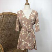 Dont Tell Amanda Mini Wrap Dress Size L Floral Flower Print Beach Boho Hippy