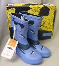 Joules Junior Welly Print Light Blue Whales Wellingtons Wellies Boys Child Sz 2