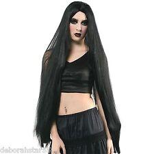 Très long noir perruque noir gothique sorcière vampire halloween costume prop adulte o/s