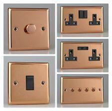 Varilight Urban Polished Copper Black Inserts Light Switch Socket Dimmer Toggle